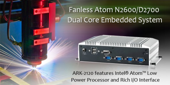 Fanless Atom N2600/D2700 Dual Core Embedded PC: Anewtech ARK-2120L