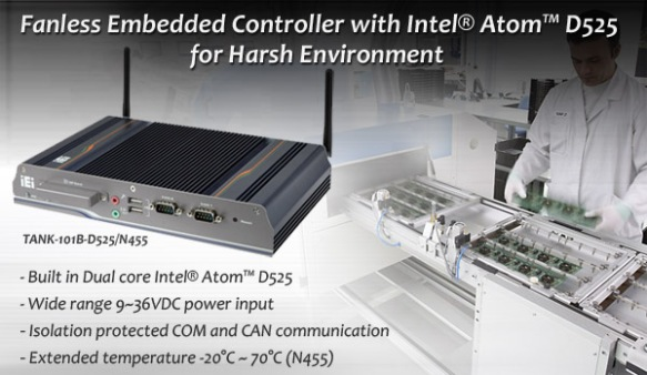 Fanless Embedded System with Intel® Atom™ Dual Core D525 Processor