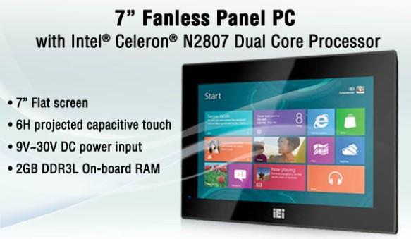 "I-AFL3-W07A-BT 7"" fanless panel PC with Intel® Celeron® N2807 dual core 1.58 GHz/2.16 GHz processor"