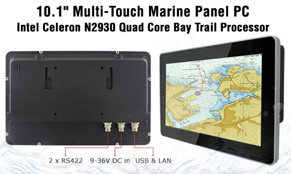 "WM-W10IB3S-MRH2 10.1"" Marine Panel PC, Intel Celeron N2930 Processor, Projected Capacitive Multi-touch Screen"
